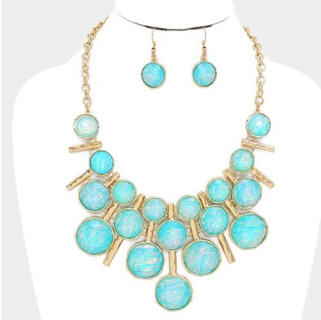 Blue Aqua Mint Fire Wedding Chunky Opal Bib Jewelry gold Necklace Set