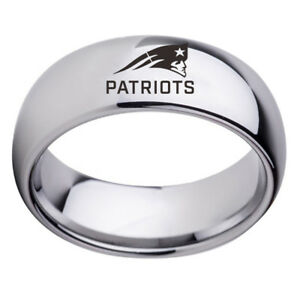 New-England-Patriots-Football-Team-Stainless-Steel-Men-Rings-Black-Silver