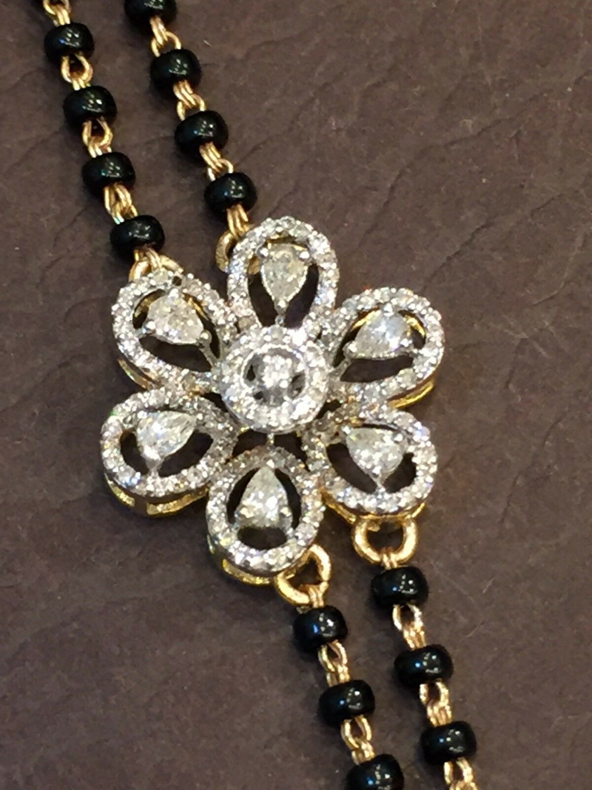 Pave 0.73 Carats Round Pear Cut Diamonds Bead Bracelet In Fine Hallmark 14K gold