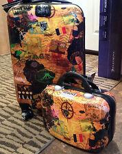 "Heys 22"" Spinner and Beauty Case Hardside Luggage Set F11209 MAPS NEW"