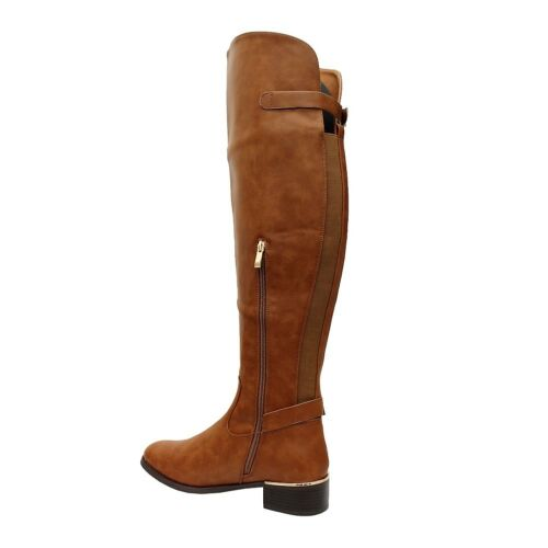 Ladies Womens Faux Leather Heels Calf Riding Over The Knee High Boots Shoes Size