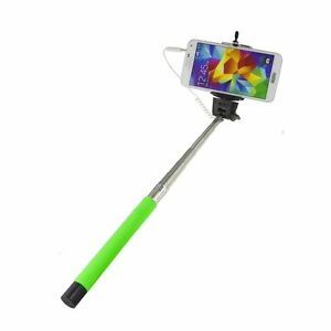 Verde-Monopie-extensible-con-cable-selfie-hacer-Vara-for-Smart-telefonos-moviles