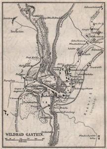 Wildbad/bad Gastein Town Plan Stadtplan Austria Österreich Small 1896 Map Excellent In Cushion Effect