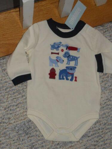 "Gymboree /""Pups /& Bunnies/"" long sleeved ivory /& blue puppy shirt 3-6 mos NWT"