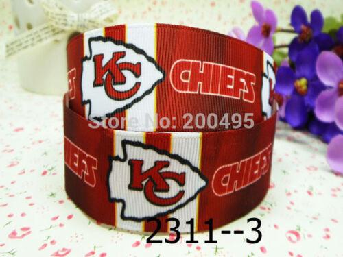 50yards Kansas City Chiefs Sport Sign team Characters Printed Grosgrain ribbon
