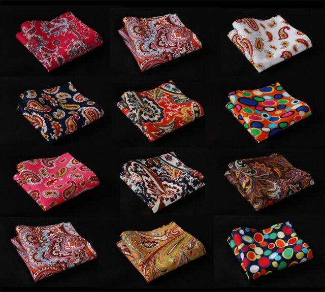 TB Polka Dot Floral Men Cotton Blend Handkerchief Pocket Square Hanky Wedding