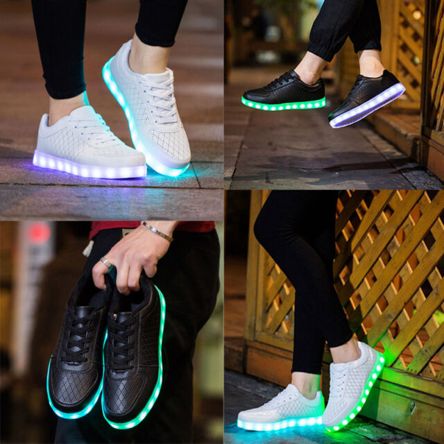 online store 4d346 cb5de UK Adult LED Light Up Shoes Luminous Dance USB Charge Sneakers Flashing  Trainers