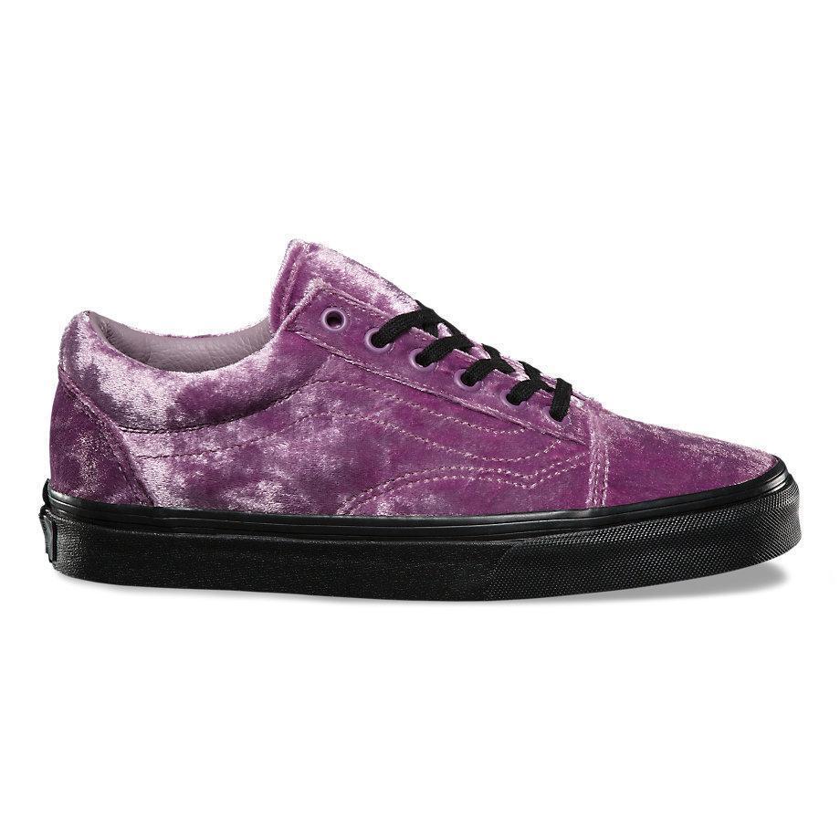 Vans Old Skool Velvet Sea Fog Purple Black Women's 7.5 Skate Shoes New