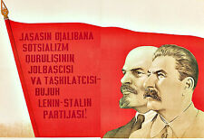Long Live the Party of Lenin and Stalin Communist  Propaganda War Poster Print