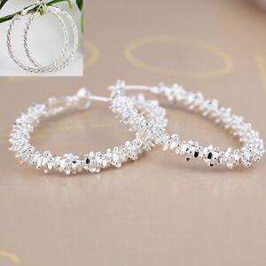 925-Silver-Plated-Hoop-Earrings-Large-Diamond-Cut-50mm-Twisted-Rope-UK