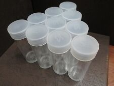 Lot of 10 Round Plastic Coin Storage Tubes for Quarters w/Screw On Caps