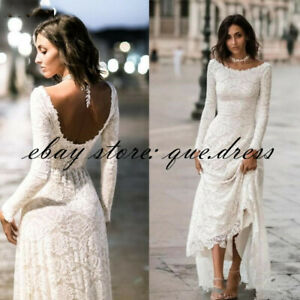 Vintage-A-line-Lace-Modest-Wedding-Dresses-Long-Sleeves-Simple-Boho-Bridal-Gowns