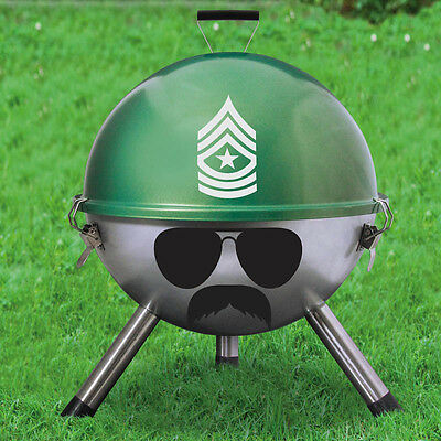 """GRILL SERGEANT 12"""" PORTABLE ARMY CHARCOAL GRILL GARDEN CAMPING FESTIVAL BBQ"""