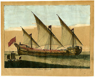 Antique Print-GALLEON WITH RAISED SAILS-BOAT-SHIP-Passebon-Jaillot-Mortier-1693