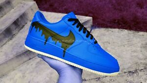 Air Force 1 Low Top Blue Black Drip Custom Nwt Ebay