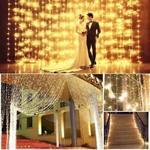 Details about 3x3M 300 Curtain Fairy String Lights Wedding Waterfall  Windows Party Warm White