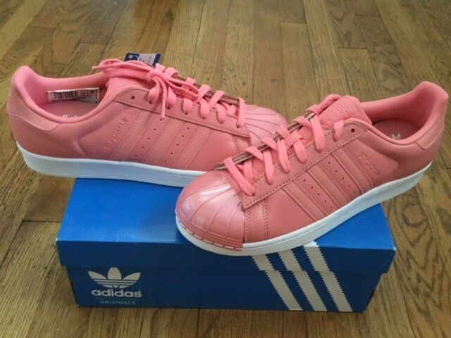 ADIDAS ORIGINALS SUPERSTAR BY9750 METAL TOE ROSE SNEAKERS SHOES 10 1/2