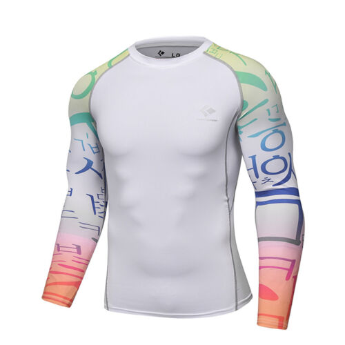Mens Gym Athletic Compression T-shirts Workout Long Sleeve Dry fit Spandex Tops