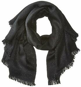 New-Women-039-s-Calvin-Klein-Twill-Weave-Lurex-Scarf-Black-One-Size