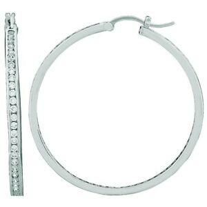 06f237623 Supper Extra Large CZ Hoop Earring Sterling Silver Channel Set CZ's ...
