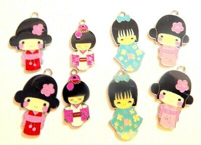 Hello Kitty Enamel Charms Craft Item Job Lot of 8 Jewellery making craft set 4