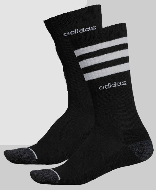 Cushioned 6-12 New Adidas Climalite Men/'s Crew Socks 6 Pairs//Pk Size L Black