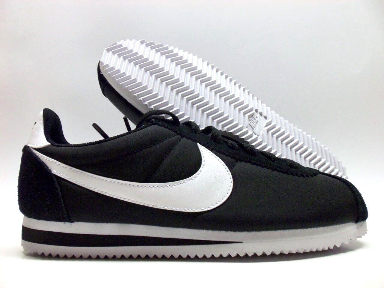Nike cortez nylon nero / bianco classico skateboard dimensioni uomini [807472-011]