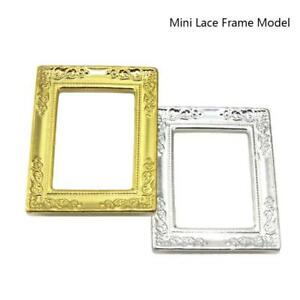 1-12-Dollhouse-Miniature-Mini-Lace-Gold-Retangle-Picture-Art-Frame-DIY-Toy