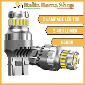 T20 2 LAMPADINE LED 6500K BIANCO GHIACCIO POSIZIONE RETROMARCIA 2400 LM CANBUS