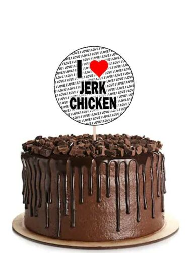 I Love Jerk Chicken Party Food Cupcake Picks Sticks Flags Decorations Toppers