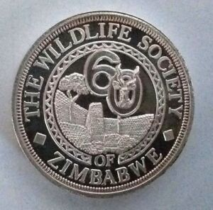 1oz Silver Medallion: Wildlife Society of Zimbabwe: Diamond Jubilee 1927-1987