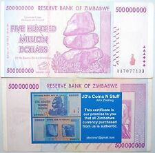 ZIMBABWE 500 MILLION DOLLARS GUARANTEED 2008 AA SERIES W/ COA | 100% AUTHENTIC