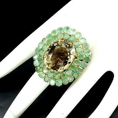 Jumbo Oval 22x17mm Smoky Quartz & Emerald 925 Sterling Silver Ring 7.5 Handmade