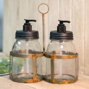New Primitive Farmhouse Rustic Mason Jar Soap Lotion Dispenser