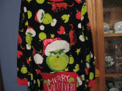 Dr Seuss Men Drop Seat The Grinch Union Suit Pajama Size Large 12-14 Women 1pc