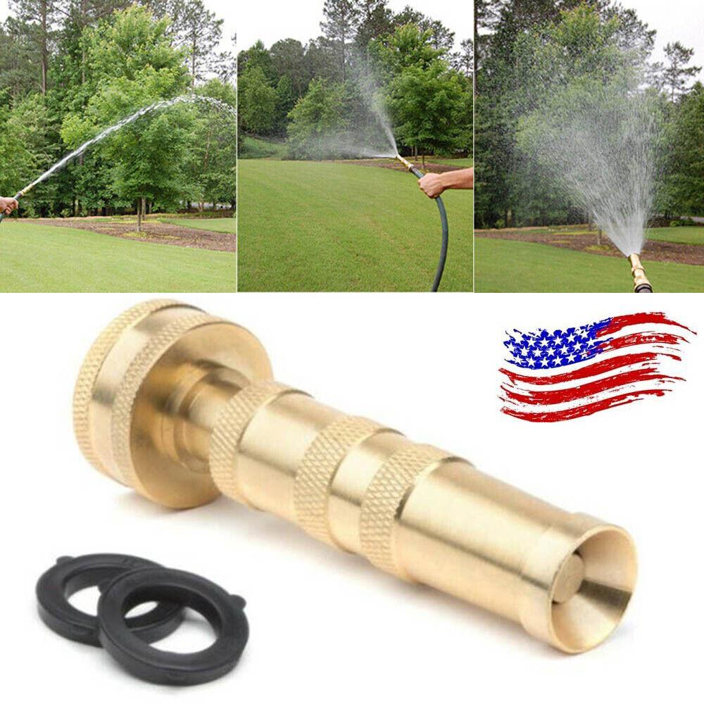 "Heavy Duty Solid Brass Garden Nozzle  4""Adjustable Twist Wat"