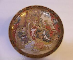 JAPANESE-SATSUMA-SCHOLAR-CHARGER-PLATE-GOLD-GILDED-GILT-MEIJI-ERA-CERAMIC-WARE