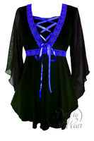 Plus Size Bewitched Corset Top In Black With Royal Blue Trim 1x 2x 3x 4x 5x