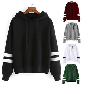 Womens Long Sleeve Hoodie Sweatshirt Jumper Hooded Pullover Tops ...