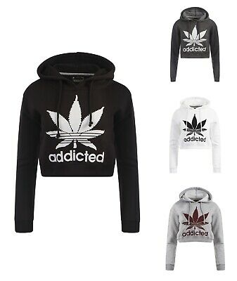 100% QualitäT Womens Ladies Addicted Cropped Hooded Sweatshirt Hoodie Top Hoody Uk 8-14 Reisen