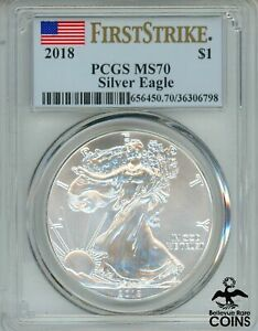 2018 UNITED STATES $1 American Silver Eagle 1oz Coin PCGS MS70