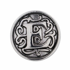 1 PC - 12MM Letter E Alphabet Silver Charm for Snap Jewelry KS5007-s CC3046