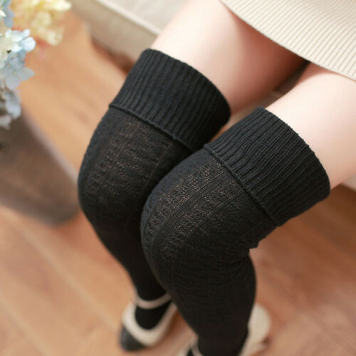 Women Cable Knit Long Socks Over Knee Thigh High Schoolgirl Stocking Winter Warm