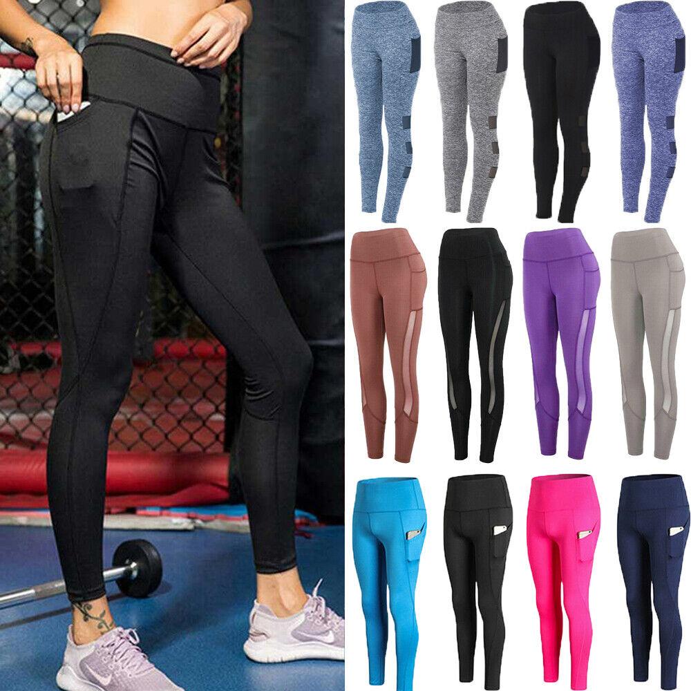 Women High Waist Yoga Push Up Legging Stretch Pants Pocket Fitness Gym Trainning