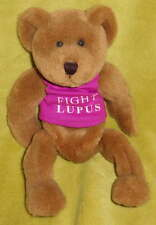 FIGHT LUPUS Beanbag Teddy Bear Plush Toy Gift Hope Cure Purple Autoimmune Aware