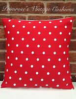 "NEW Red Polka Dot 16"" Cushion Cover Shabby Chic, Country Cottage, Vintage Style"