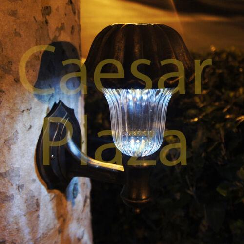 2 Outdoor Garden SMD LED Solar Wall Mount Light Glass Lens Landscape Path Post