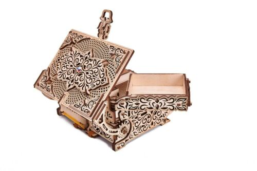 Mechanical Puzzle Wood Trick 3D Model TREASURE BOX with CRYSTALS Wooden assembly