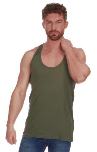 Bodybuilding Racer Back Mens Plain 100/% Cotton Muscle Back Vest Top ~ Gym