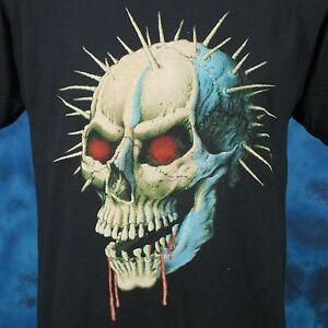vintage-80s-DEMON-SKULL-PAPER-THIN-T-Shirt-MEDIUM-LARGE-zombie-biker-punk-rock